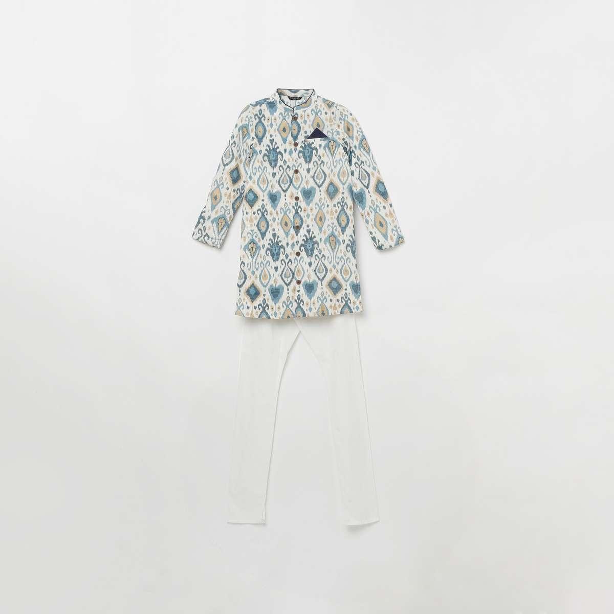 4.MELANGE Boys Printed Band Collar Kurta with Elasticated Waist Pyjamas
