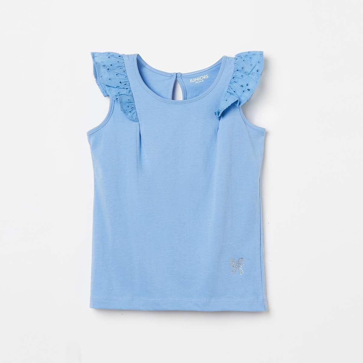 5.JUNIORS Girls Schiffli Embroidery Sleeveless Top