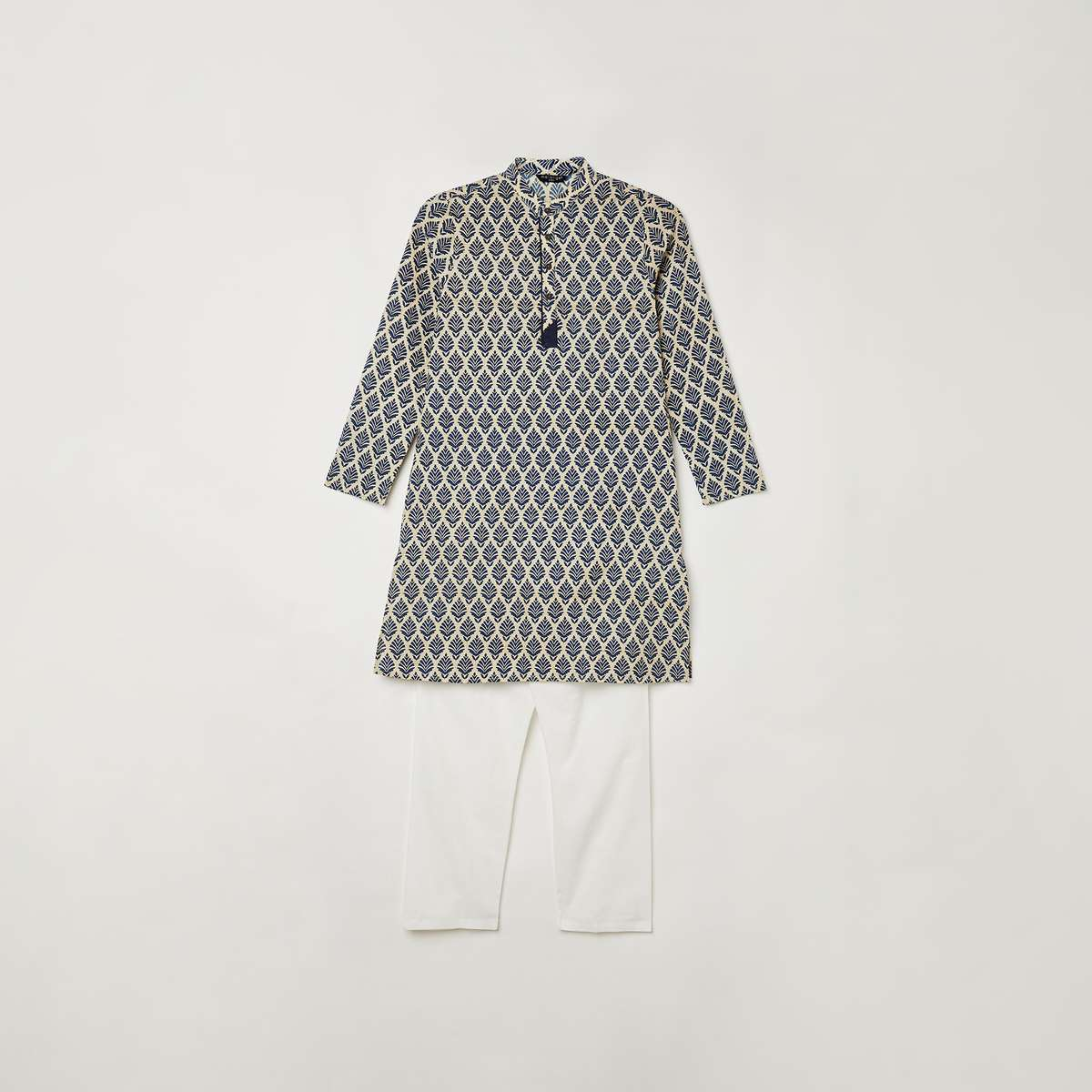 5.MELANGE Boys Printed Kurta with Elasticated Solid Pyjamas