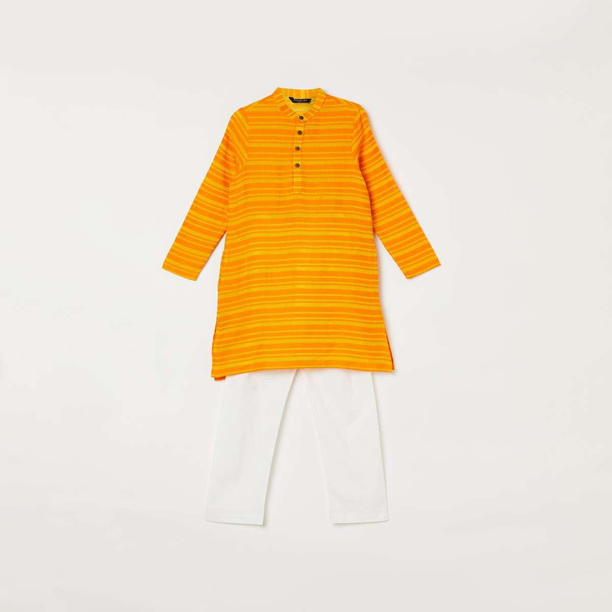 6.MELANGE Boys Striped Band Collar Kurta with Elasticated Waist Pyjamas