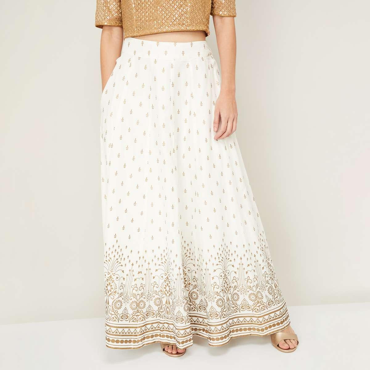 7.DE MOZA Women Printed A-Line Maxi Skirt
