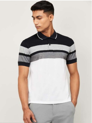 CODE Men Colourblocked Regular Fit Polo T-shirt - Code by Lifestyle