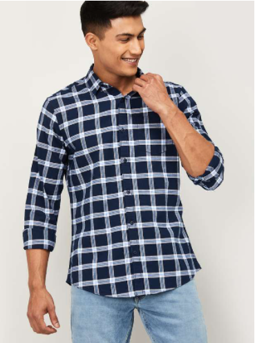 FAME FOREVER Men Checked Slim Fit Casual Shirt - Fame Forever by Lifestyle