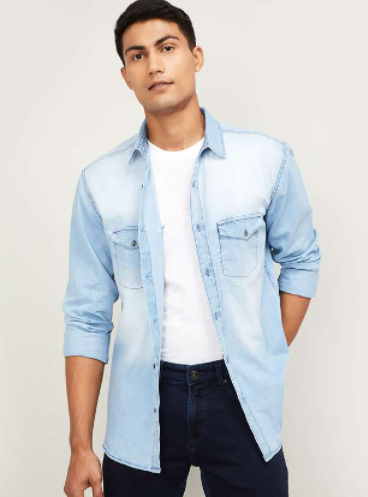 FORCA Men Stonewashed Slim Fit Denim Shirt - Forca by Lifestyle