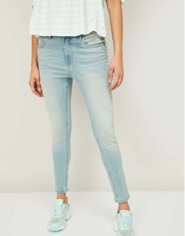 GINGER Women Washed Skinny Fit Faded Jeans - Ginger by Lifestyle