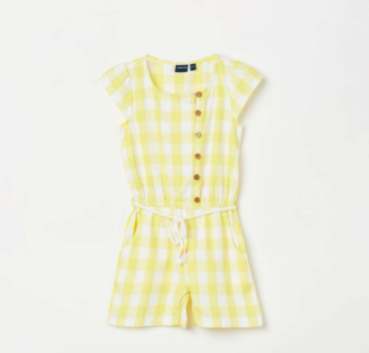 JUNIORS Girls Gingham Check Playsuit with Button Placket - Juniors by Lifestyles
