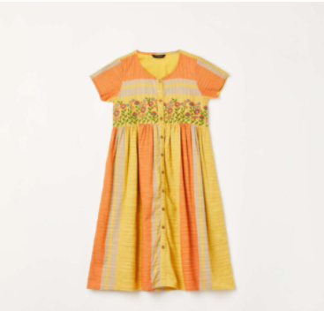 MELANGE Girls Floral Embroidery Colourblock Shift Dress - Melange by Lifestyle