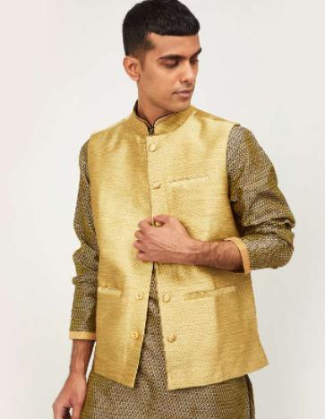 MELANGE Men Textured Regular Fit Nehru - Melange by Lifestyle