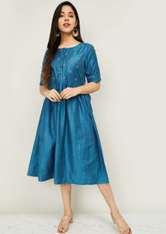 MELANGE Women Embroidered Midi Dress - Melange By Lifestyle