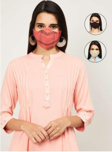 MELANGE Women Printed Face Mask - Pack of 3