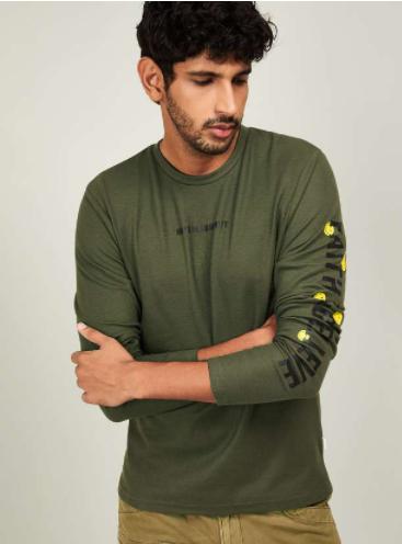 SMILEYWORLD Men Typographic Print Regular Fit T-shirt - Smiley by lifestyle