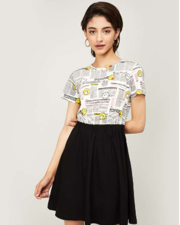 SMILEYWORLD Women Printed Fit and Flare Dress - Smiley world from Lifestyle