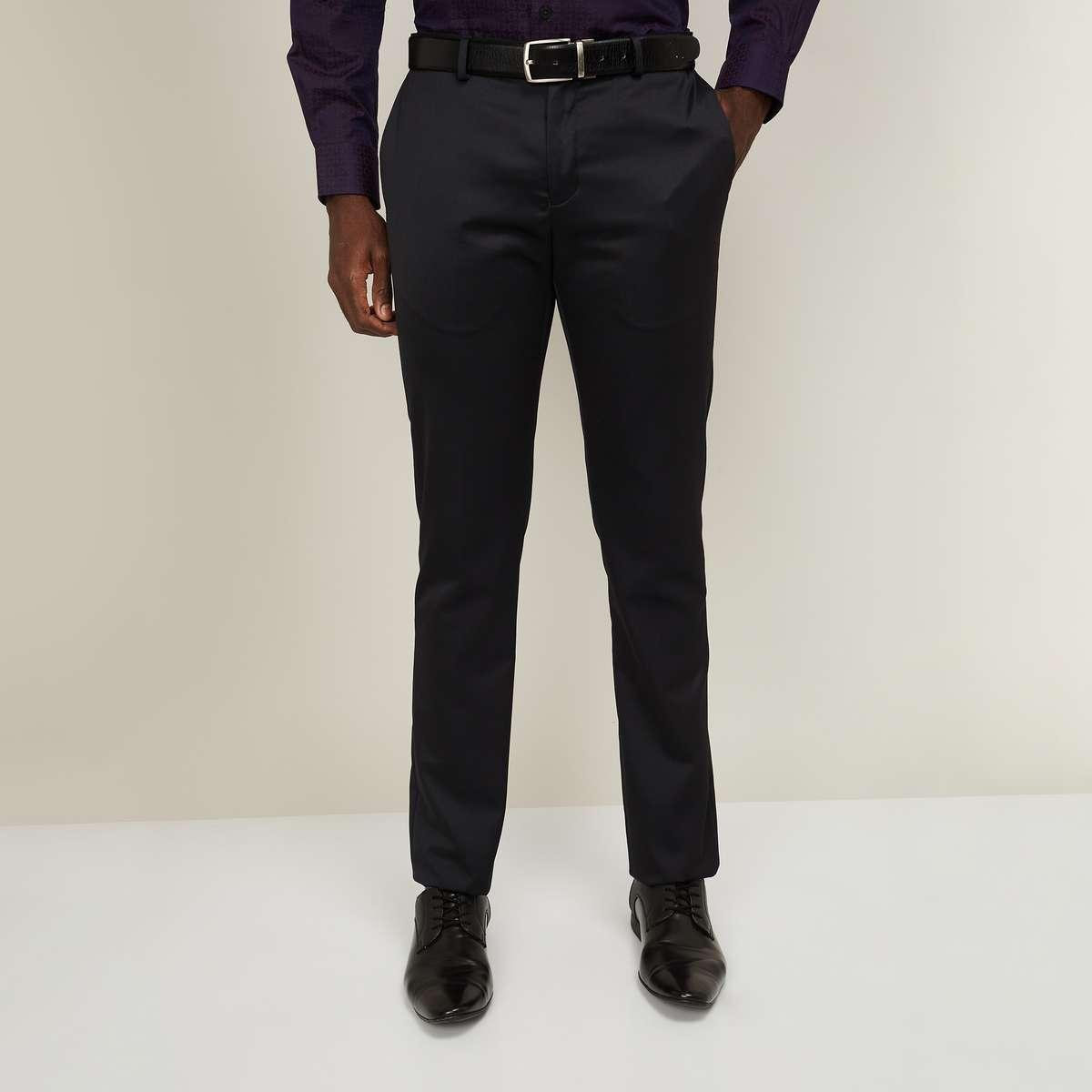 1.BLACKBERRYS Men Solid Slim Straight Formal Trousers