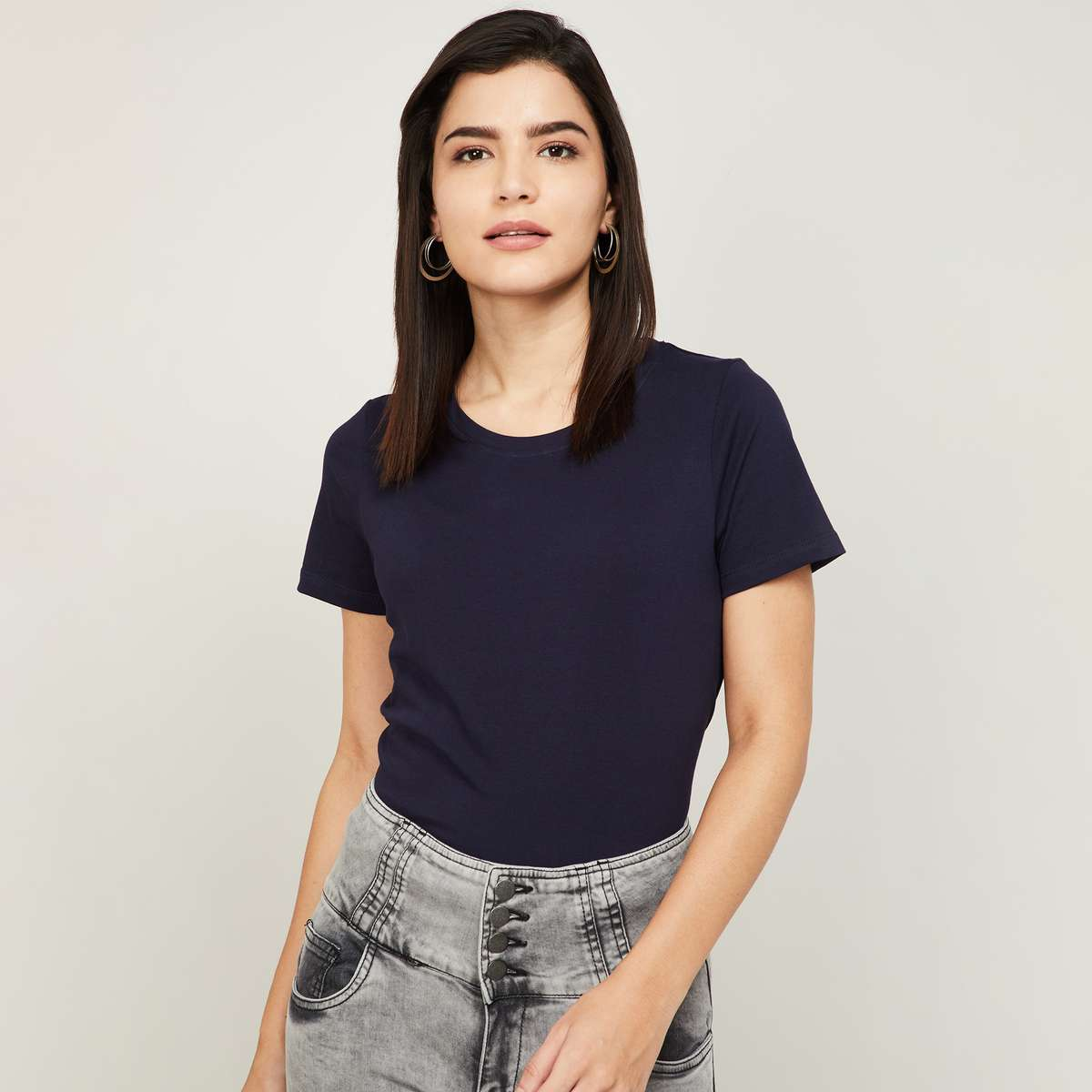 1.FAME FOREVER Women Solid Round Neck T-shirt