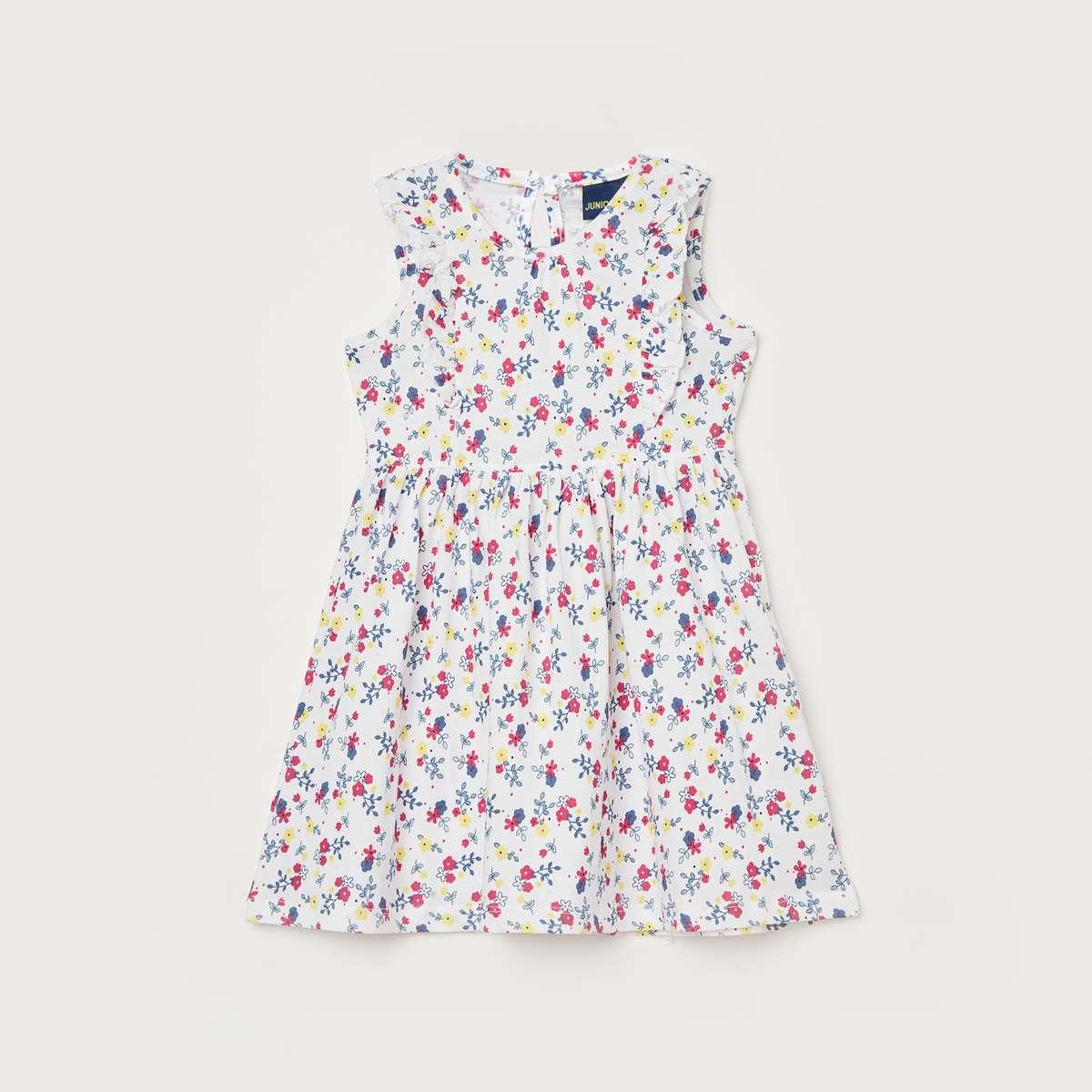1.JUNIORS Girls Floral Print A-line Dress