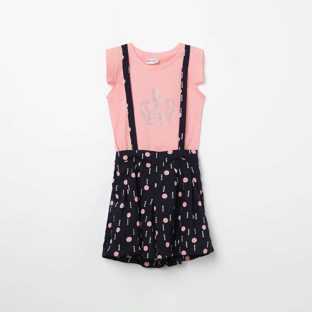 1.PEPPERMINT Printed Dungaree Skirt with Embellished Top