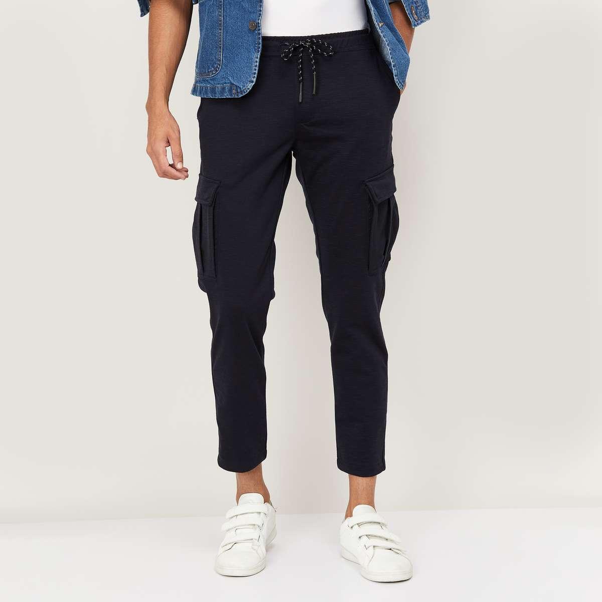 2.BOSSINI Men Solid Slim Tapered Elasticated Cargo Trousers