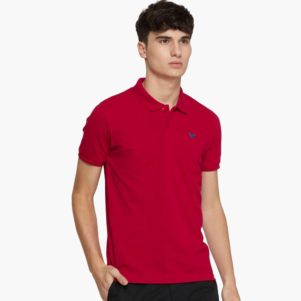 2.FAME FOREVER Men Solid Polo Neck T-Shirt