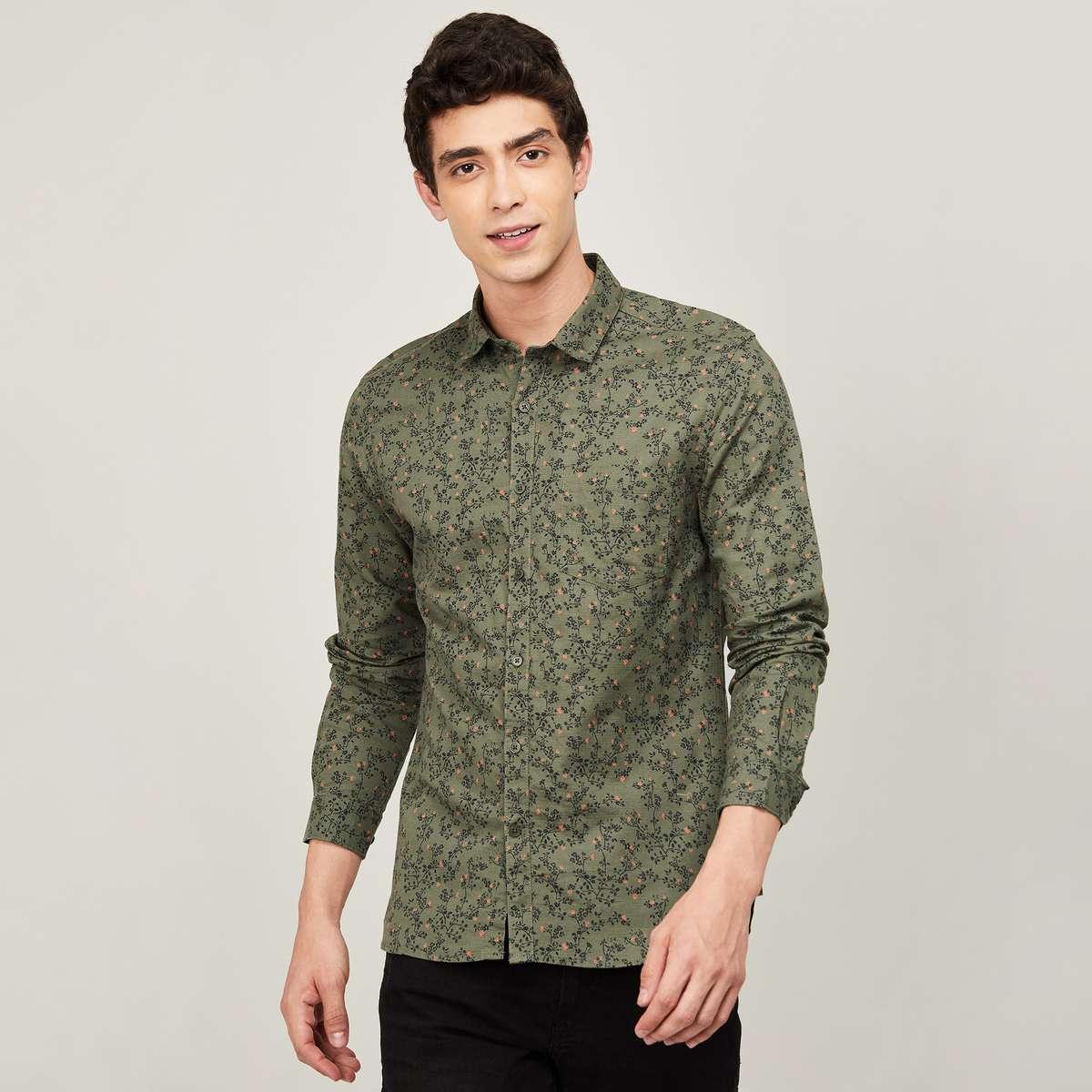 3.CODE Men Printed Regular Fit Casual Shirt