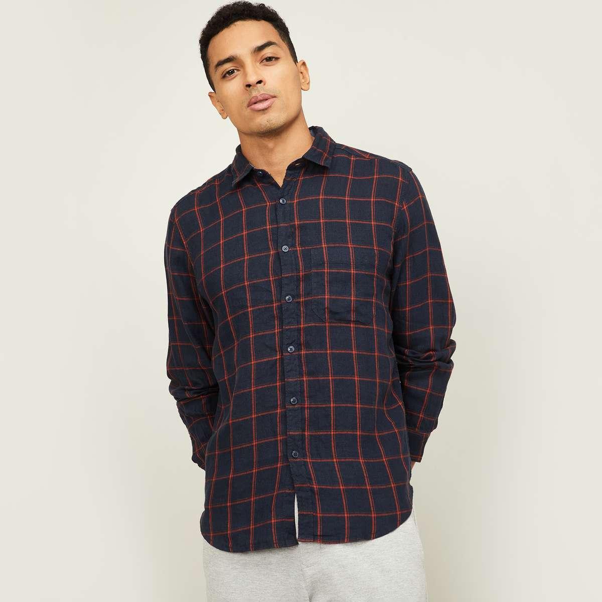 4.CODE Men Checked Regular Fit Casual Shirt