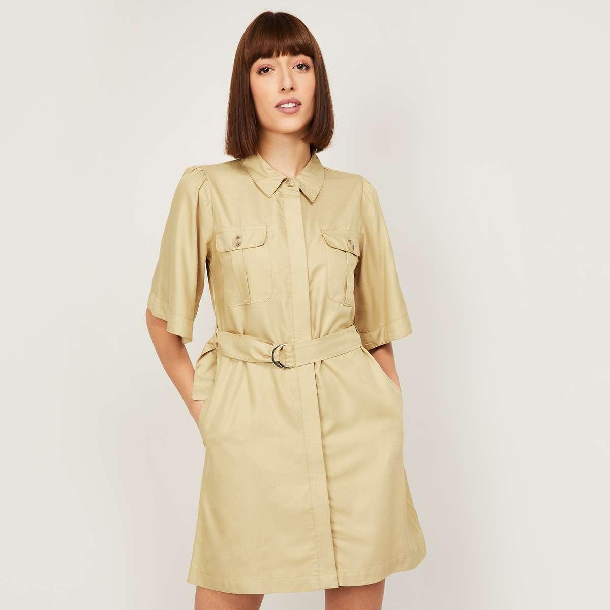 5.GINGER Women Solid Shirt Dress