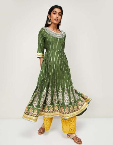 AURELIA Women Floral Print Anarkali Kurta with Tasselled Tie-Up - Diwali outfits for women