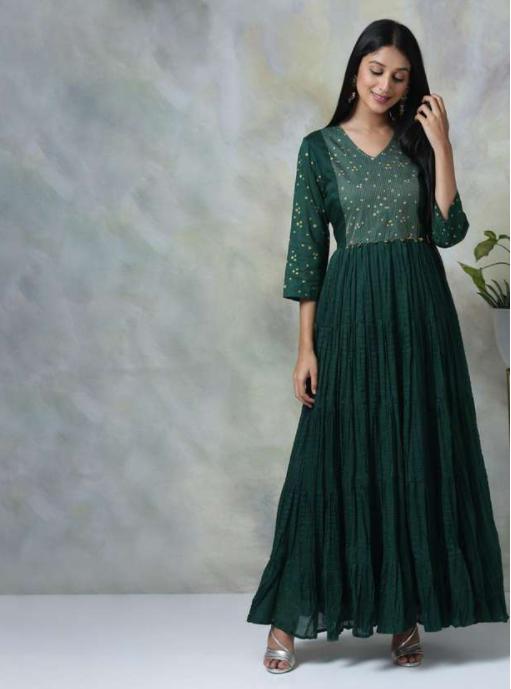 BIBA Women Embroidered Tiered Maxi Dress