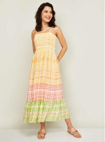 GLOBAL DESI Women Printed Midi Dress - latest fashion trends for women
