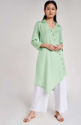 GLOBAL DESI Women Solid Three-quarter Sleeves Asymmetric Hemline Kurta - diwali outfits for women