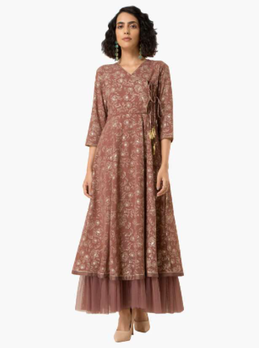 INDYA Women Printed Ethnic Layered Maxi Dress - Diwali outfits for women