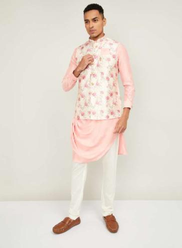 MANYAVAR Men Solid Kurta with Churidar and Printed Nehru Jacket - Modern Diwali Ourfits