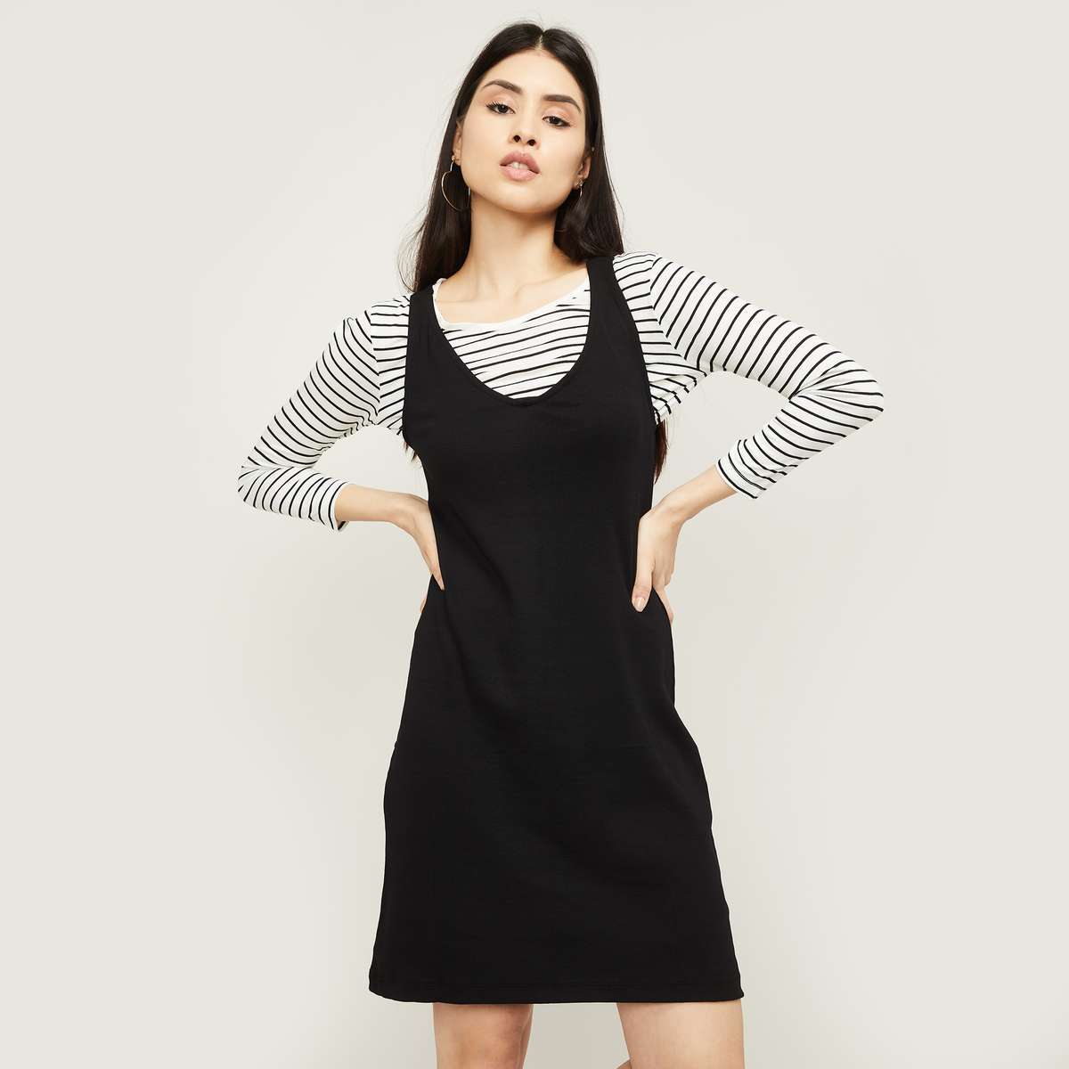 1.BOSSINI Women A-line Dress with Striped Top