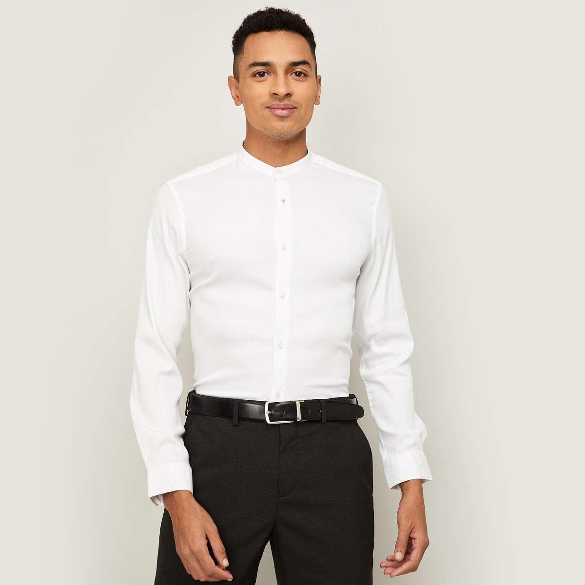 1.CODE Men Textured Slim Fit Formal Shirt
