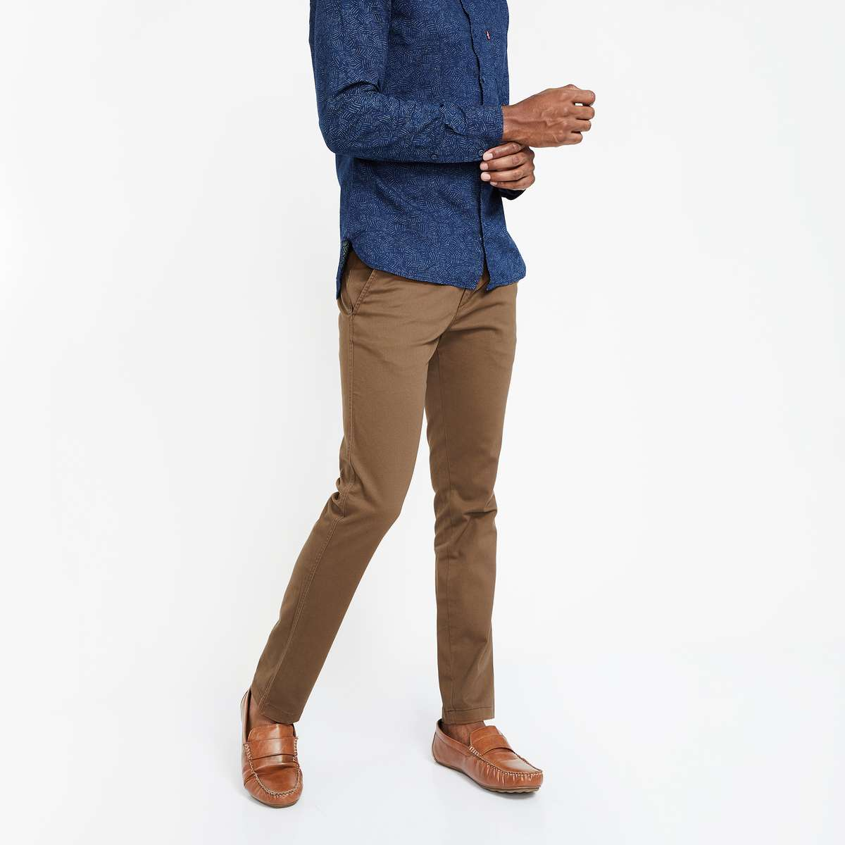 1.CODE Solid Flat-Front Chinos