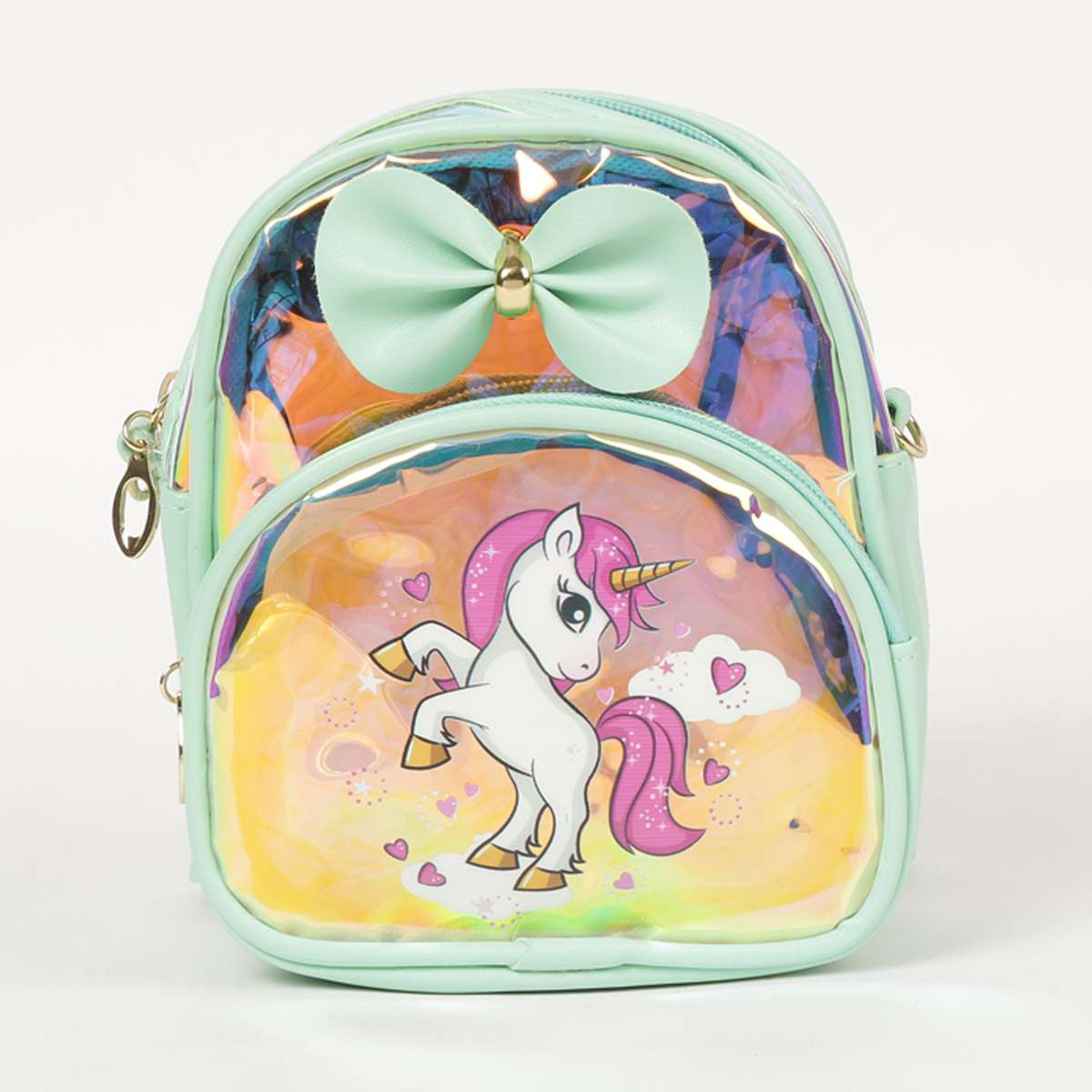1.GINGER Girls Printed Zip-Closure Backpack