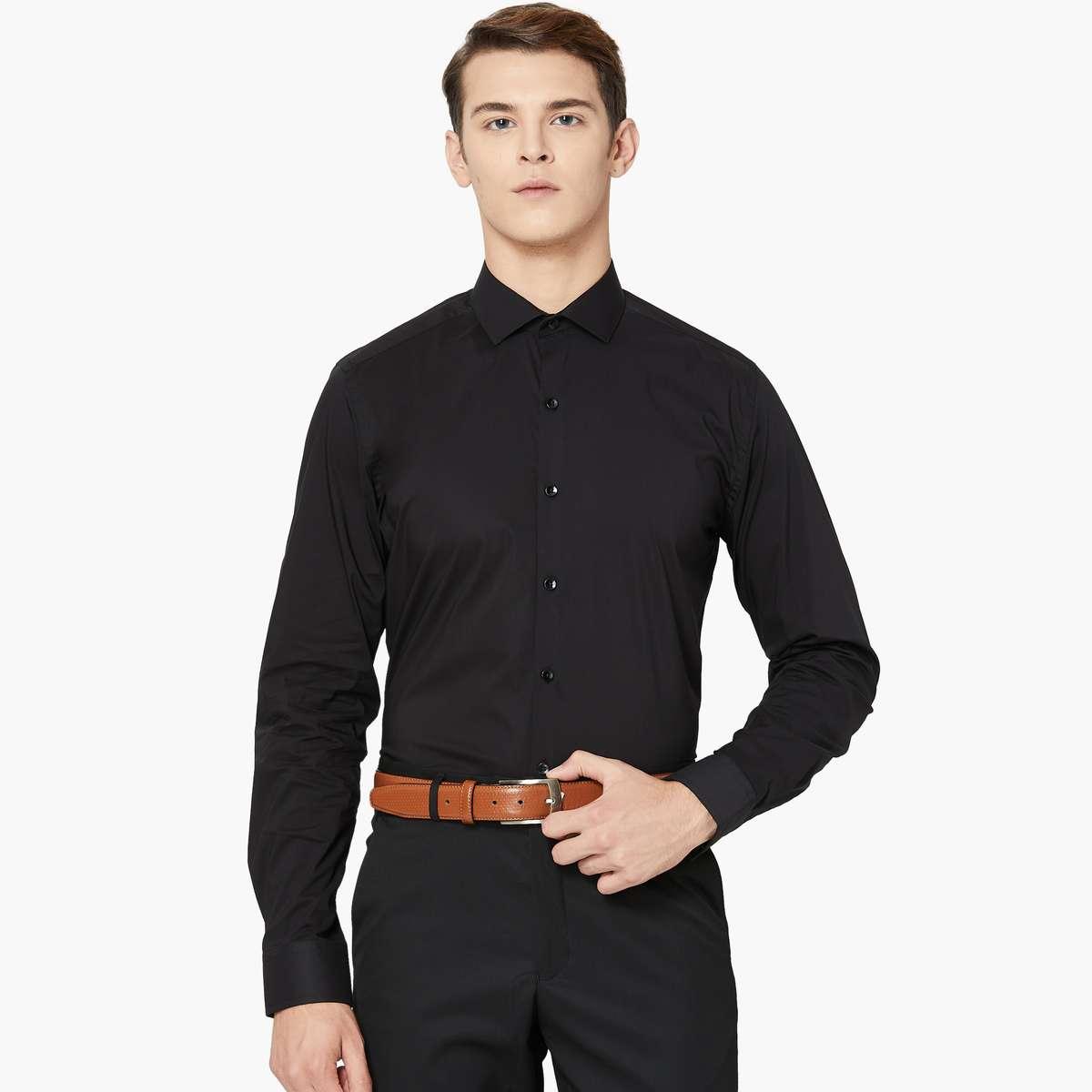 2.CODE Solid Stretch Slim Fit Shirt