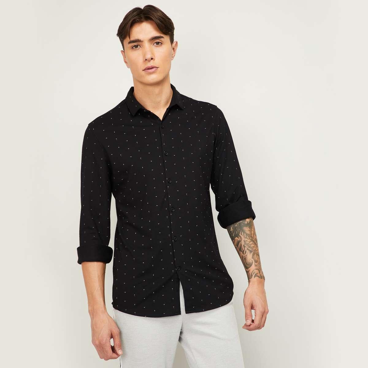 3.CODE Men Printed Full Sleeves Casual Shirt