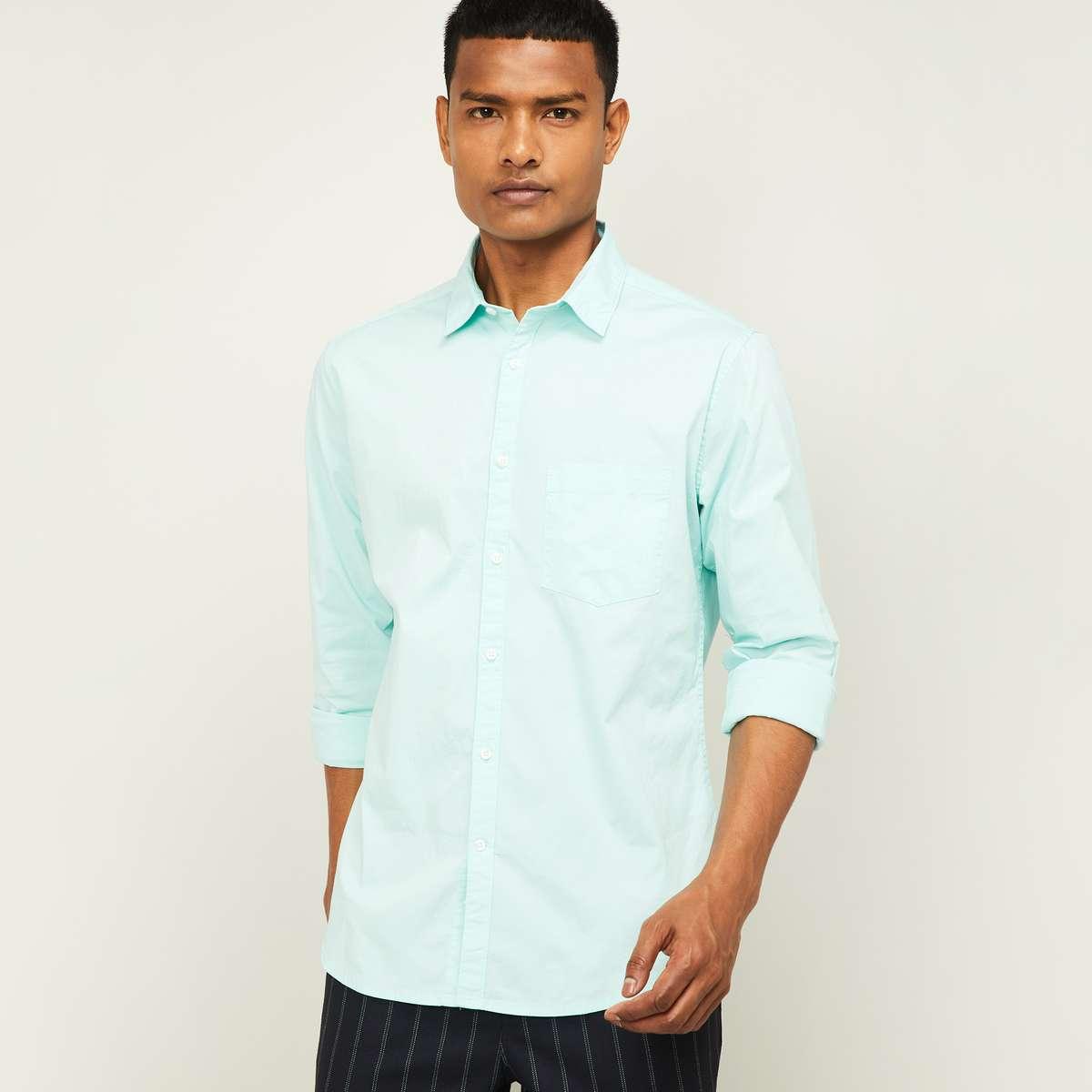 4.CODE Men Solid Slim Fit Casual Shirt