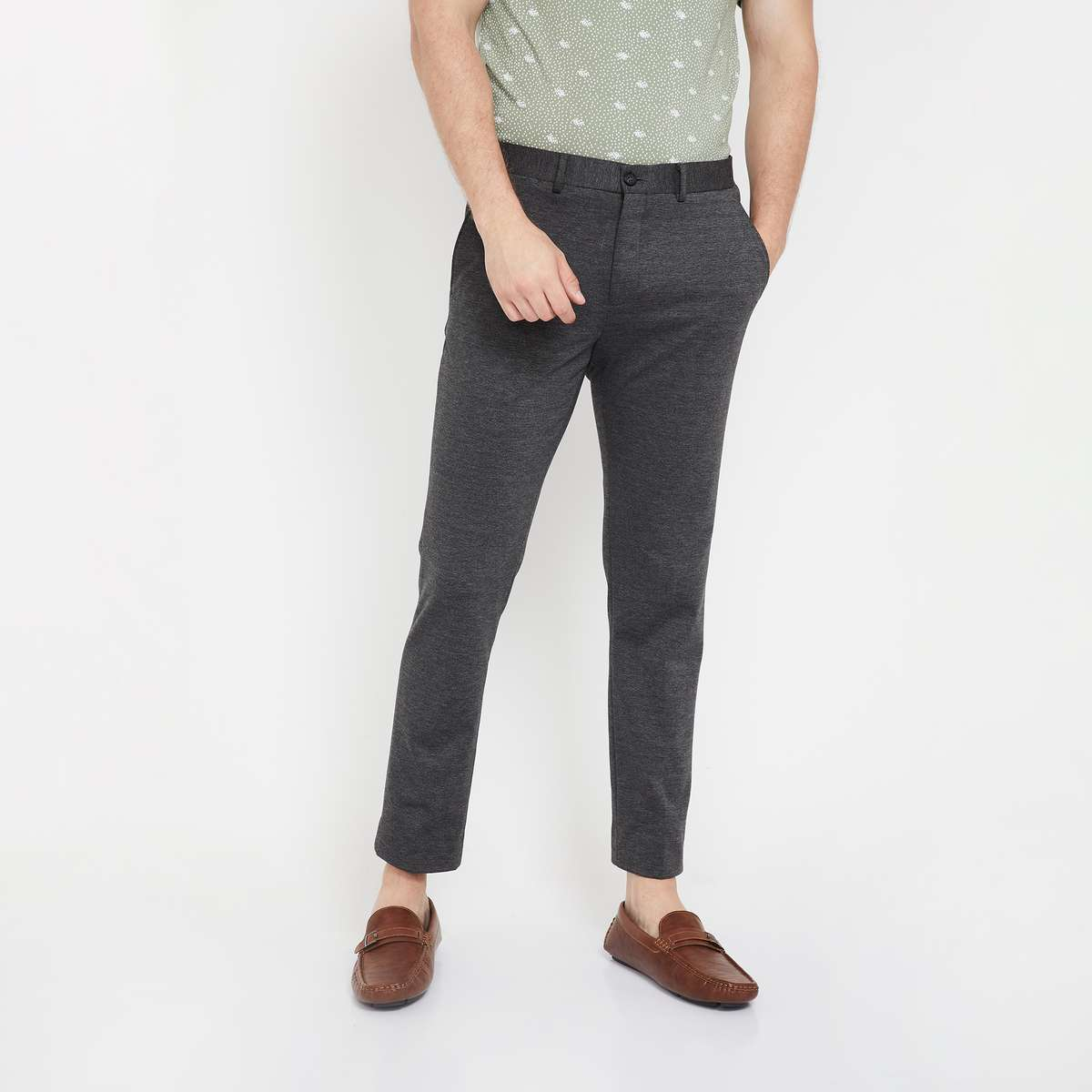 4.CODE Patterned Flat-Front Cropped Trousers