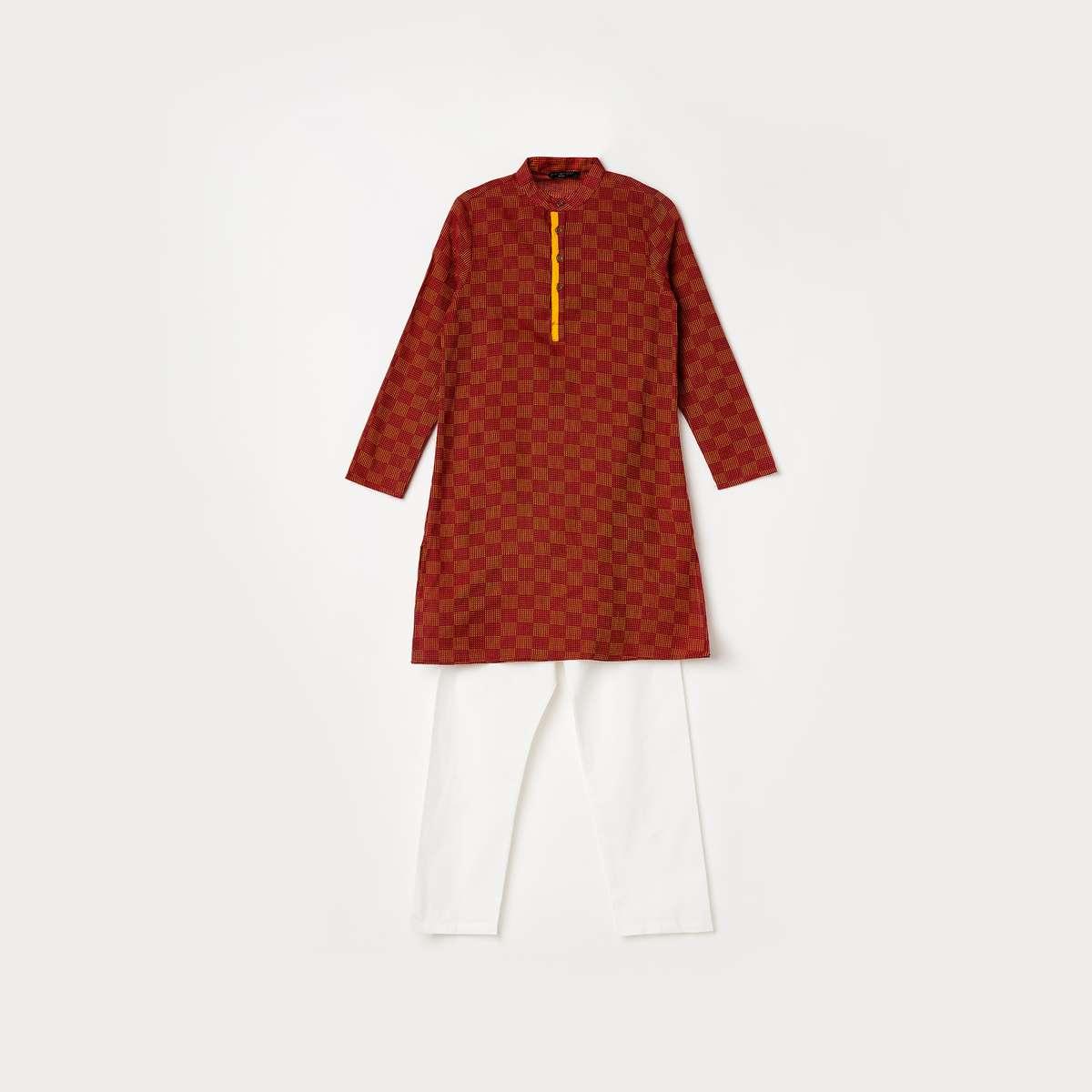5.MELANGE Men Printed Kurta with Solid Pyjamas