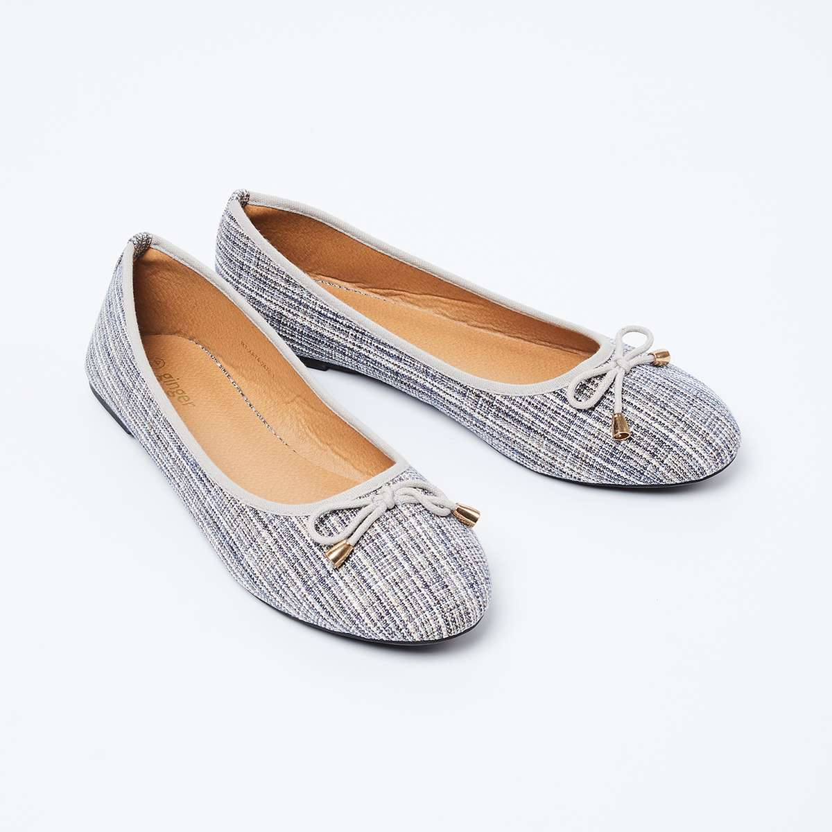 6.GINGER Patterned Weave Ballerinas with Mock Tie-Up